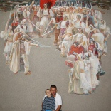 Another beautiful painting of Albanians gathered.